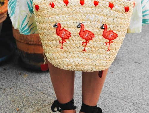 Meine süßen Flamingo Korbtasche