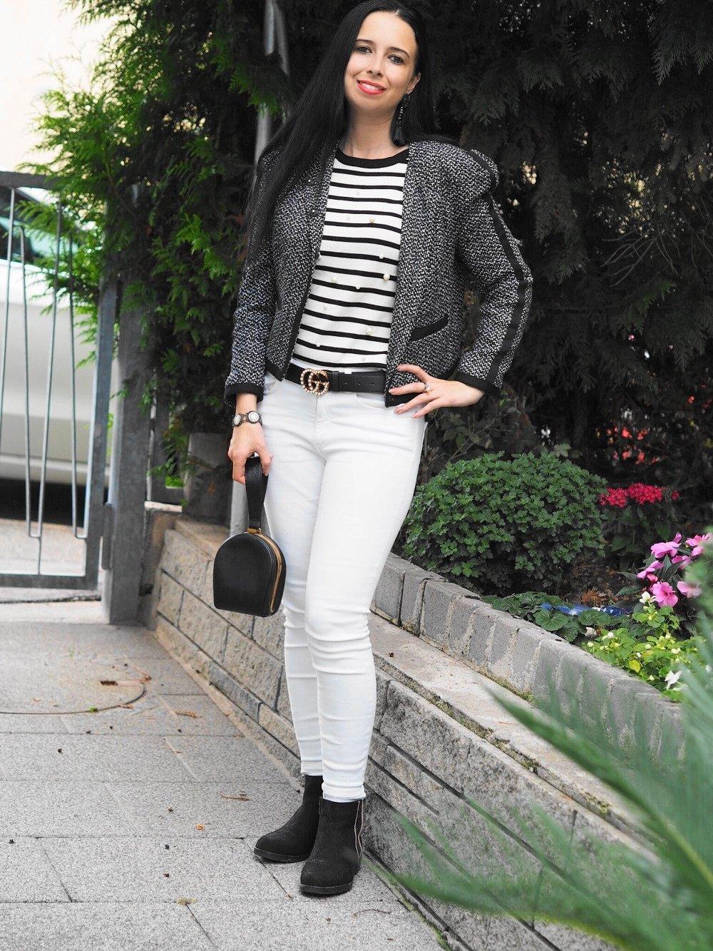 Heute zeige ich auf meinem Blog ein OOTD mit Streifenshirt, Skinnyjeans und Gucci GG Gürtel und erzähle euch etwas von der Modegeschichte des Streifenshirts