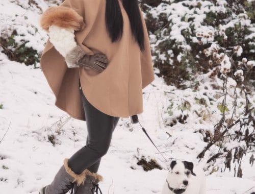 Winter-Look mit hübschem Poncho