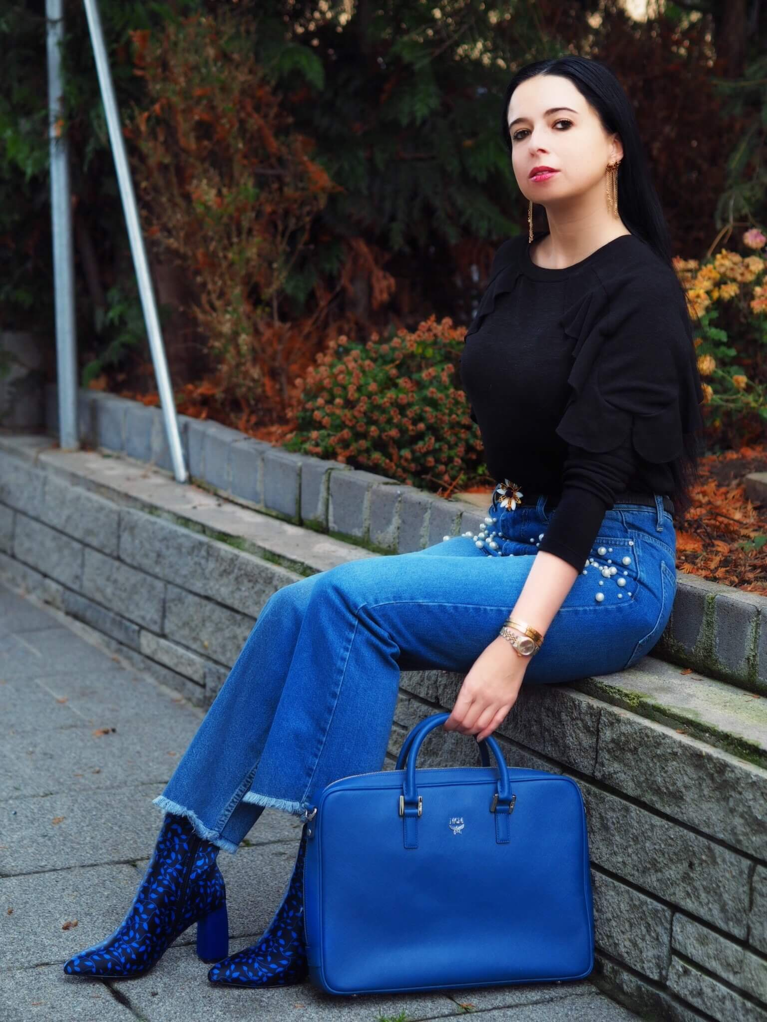 Heute zeige ich euch meinen Blue Valentine Look mit Trendyol High Waist Jeans, Haileys Pulli, NA-KD Stiefeln und MCM Tasche den ich am Tag der Liebe trage