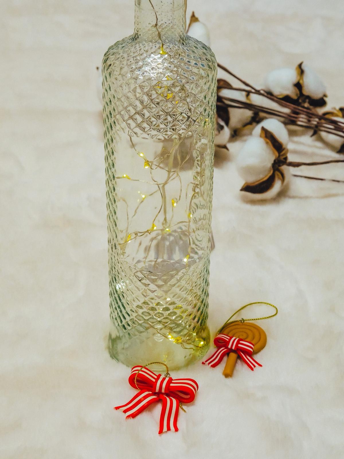DIY Schneezauber Leuchtflasche mit Lichterkette.