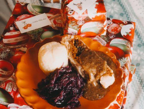 Veganer Festtagsbraten mit Pilzsauce